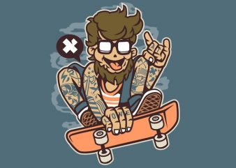 Bearded Skater buy t shirt design