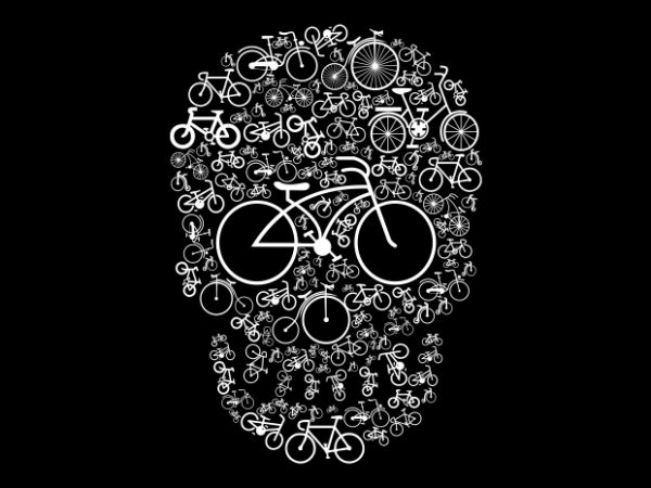 Bicycle Skull t shirt template