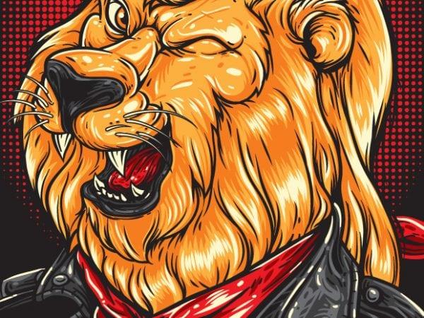 Cool Lion – Biker t shirt vector file