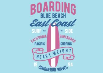 Boarding Blue Beach tshirt design