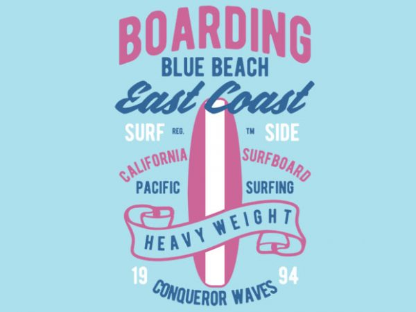Boarding Blue Beach tshirt design buy t shirt design