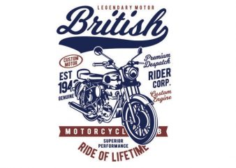 British Motorcycle t shirt template