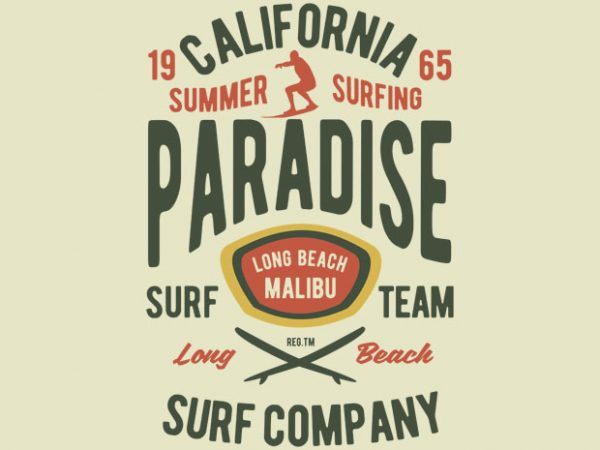 California Summer Surfing Paradise Tshirt design