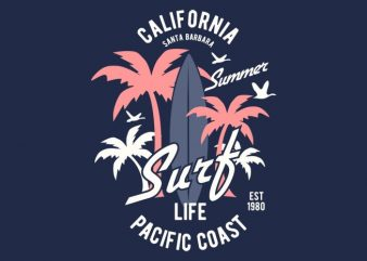 California Surf Tshirt Design buy t shirt design