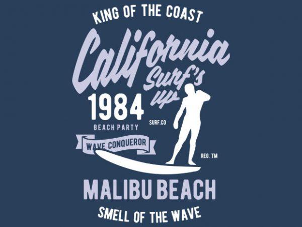 California Surfs Up Tshirt Design