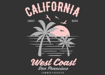 California West Coast Tshirt Design