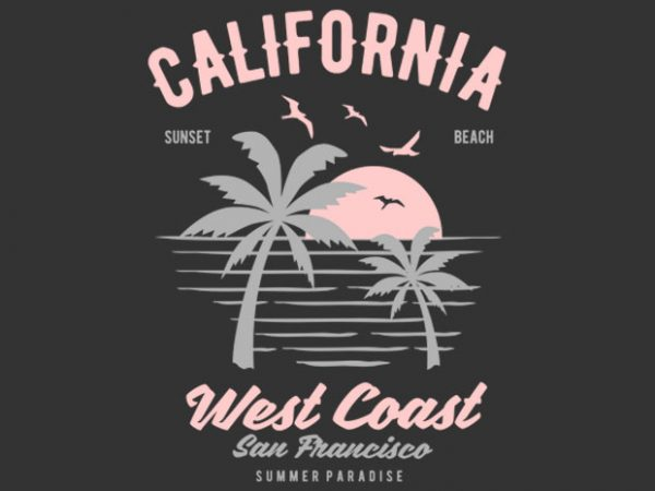 California West Coast Tshirt Design