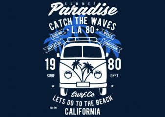 Catch The Waves Surf Van Tshirt Design buy t shirt design