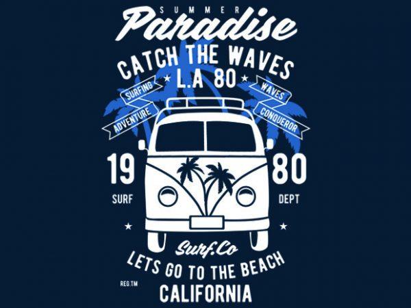 Catch The Waves Surf Van Tshirt Design