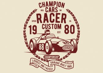 Champion Cars Racer tshirt design