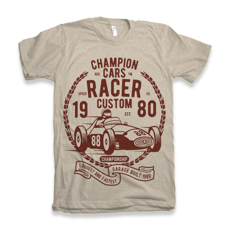 Champion Cars Racer tshirt design buy t shirt design