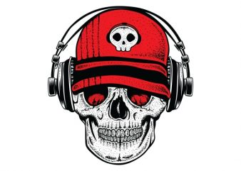 DJ Skull2 t shirt vector illustration