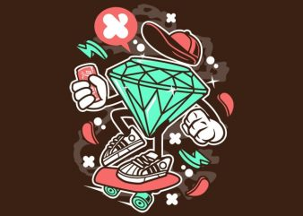 Diamond Skater t shirt vector illustration