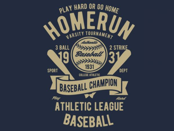 Homerun Baseball BTD 600x450 - Homerun Baseball vector design buy t shirt design