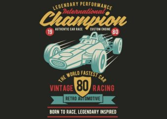 International Champion Car Race tshirt design buy t shirt design
