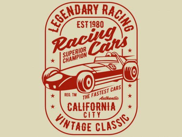 Legendary Racing Cars tshirt design