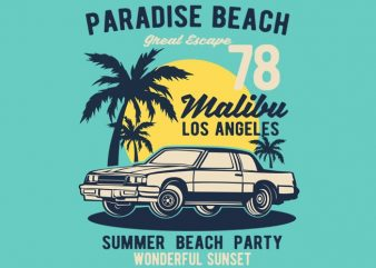 Paradise Beach t shirt illustration