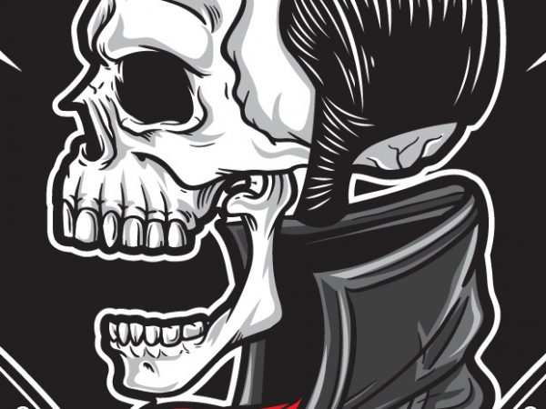 Rockabilly 2 600x450 - Rockabilly Skull buy t shirt design
