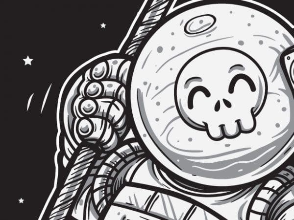 Space Joy – Astronaut Skull t shirt template vector