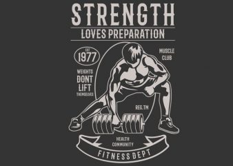 Strength Fitness t shirt template vector