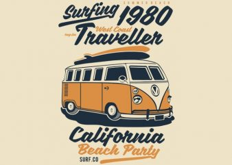 Surfing 1980 t shirt template vector