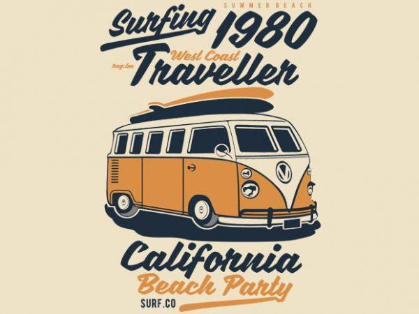 Surfing 1980 t shirt template vector
