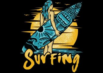 Surfing t shirt template vector