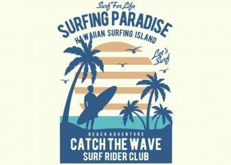 Surfing Paradise t shirt design