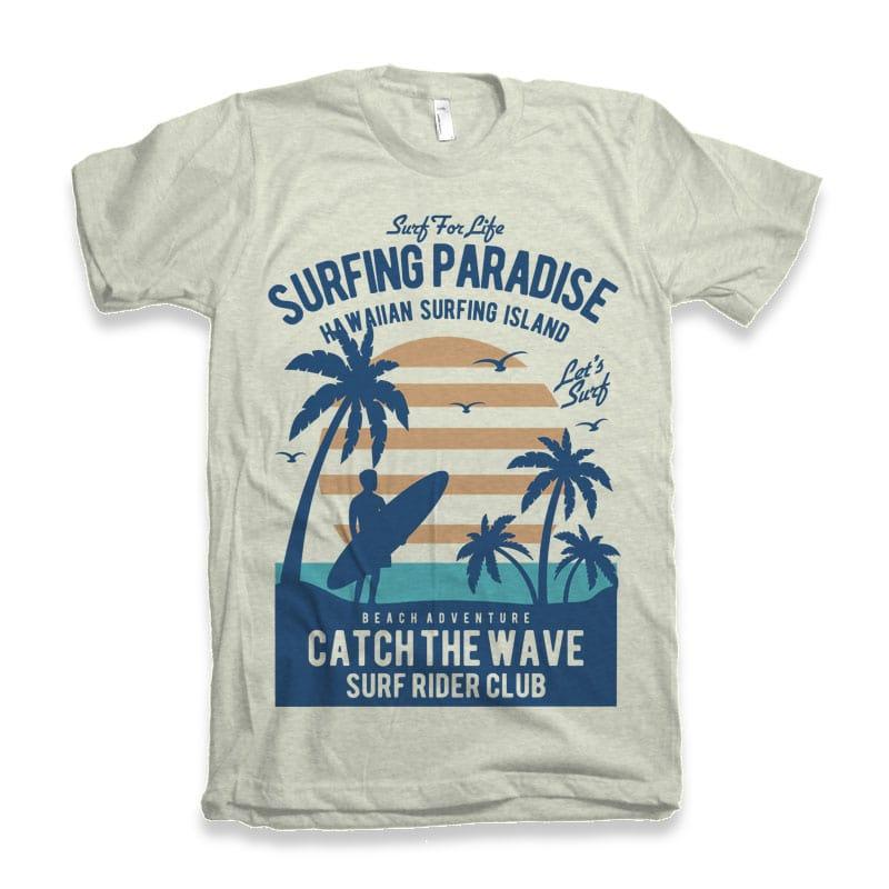 Surfing Paradise t shirt design buy t shirt design