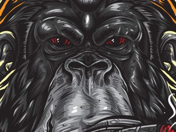Swag – Gorilla Hipster t shirt template vector