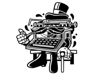 Typewriter Classic Gentleman t shirt vector