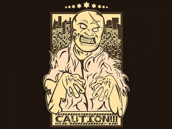 Caution Zombies t shirt vector file
