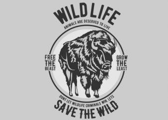 Wild Life t-shirt design buy t shirt design