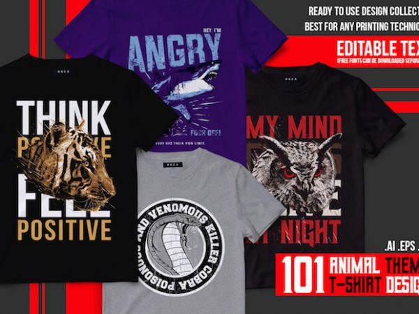 101 Animal T-shirt Designs Bundle