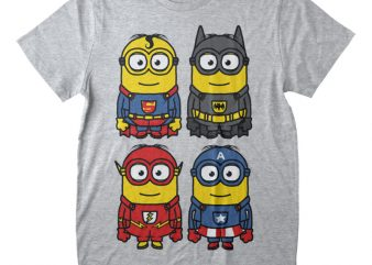 4 Minions Heros Graphic T-shirt Design