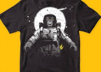Astronaut Monkey T-shirt Design For Sale