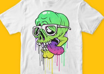 Colored Skull t shirt vector file
