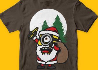 Santa Minions t shirt template vector