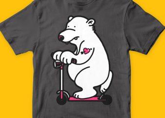 Scooter bear graphic t-shirt design