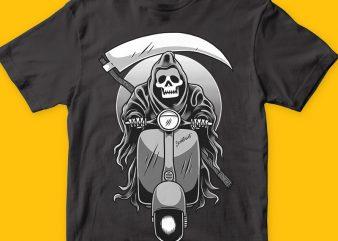 Scooter reaper t shirt template vector