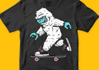 Skateboarding yeti png t-shirt