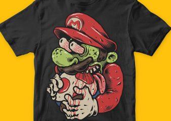Zombie Mario t shirt graphic design