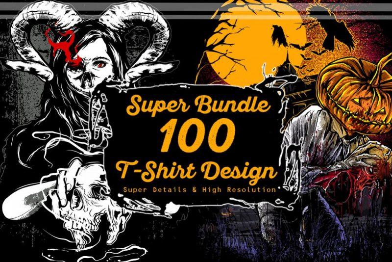 super 100 t-shirt designs bundle