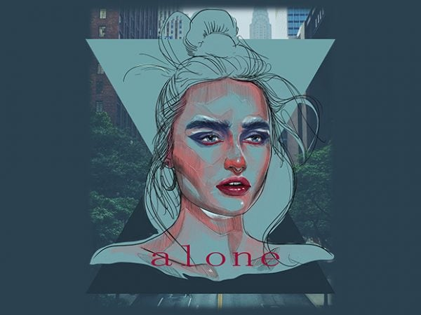 Alone 600x450 - Alone buy t shirt design
