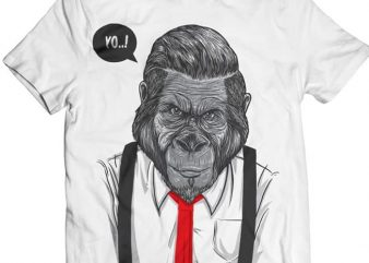 Slick Ape – Gorilla Business t shirt template vector