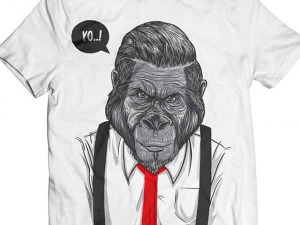 Slick Ape – Gorilla Business t shirt template vector