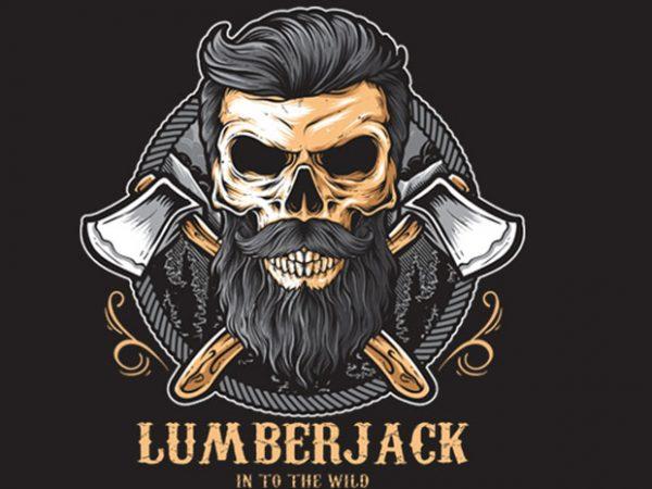 Skull Lumberjack t shirt template vector