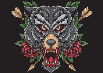 wolf tattoo t shirt vector