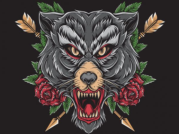 wolf tattoo t shirt design for sale