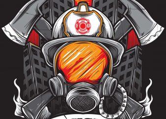 FIREFIGHTER t shirt graphic design